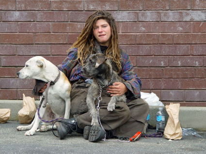 homeless woman with dogs - by Franco Folini